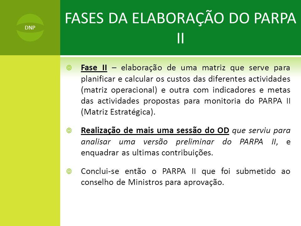  Fase II – elaboração de uma matriz que serve para planificar e calcular os custos das diferentes actividades (matriz operacional) e outra com indicadores e metas das actividades propostas para monitoria do PARPA II (Matriz Estratégica).