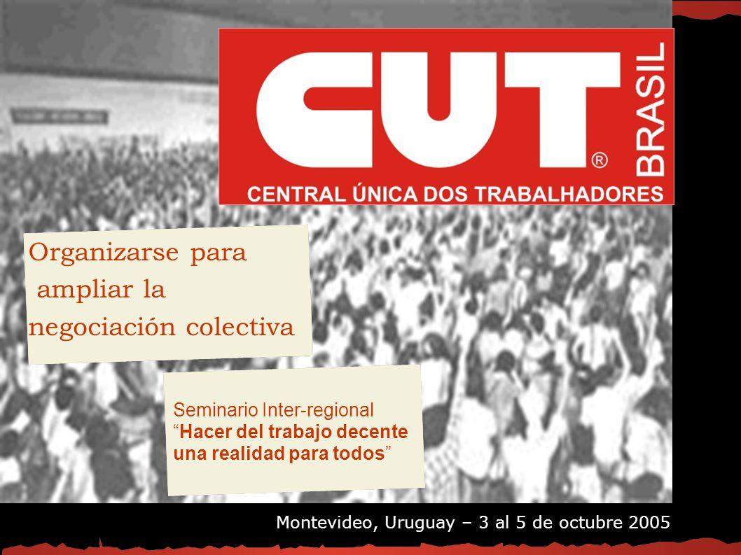 Organizarse para ampliar la negociación colectiva Organizarse para ampliar la negociación colectiva Seminario Inter-regional Hacer del trabajo decente una realidad para todos Montevideo, Uruguay – 3 al 5 de octubre 2005