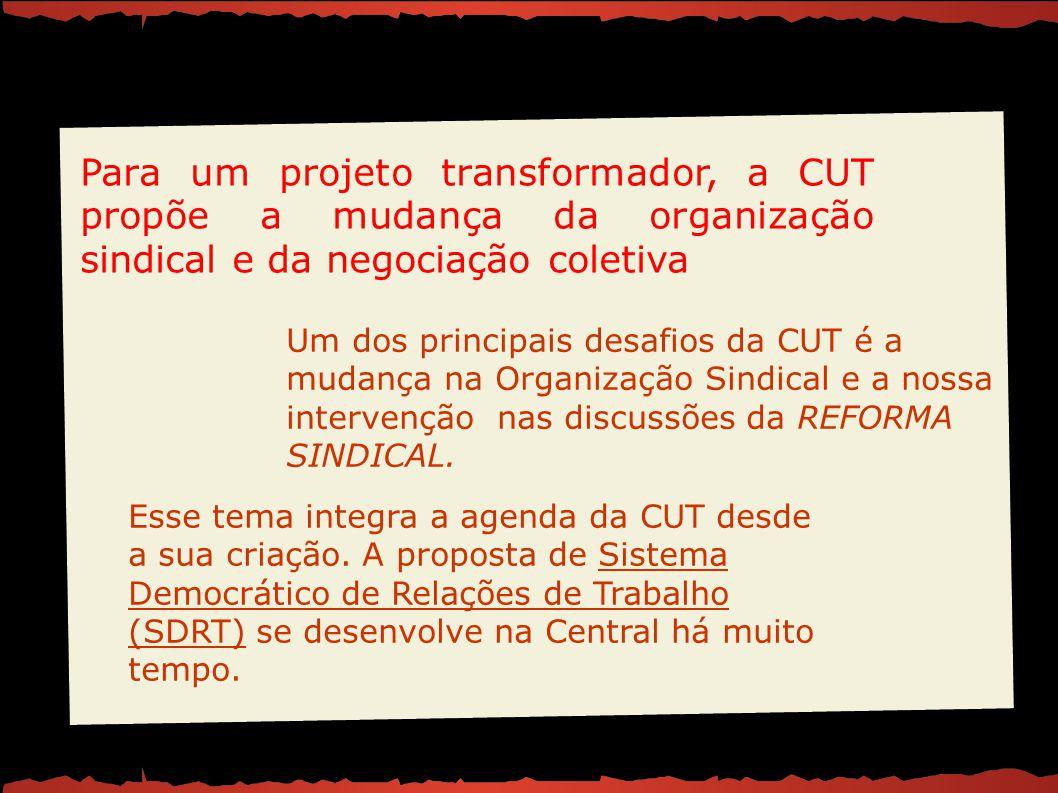 Esse tema integra a agenda da CUT desde a sua criação. A proposta de Sistema Democrático de Relações de Trabalho (SDRT) se desenvolve na Central há mu