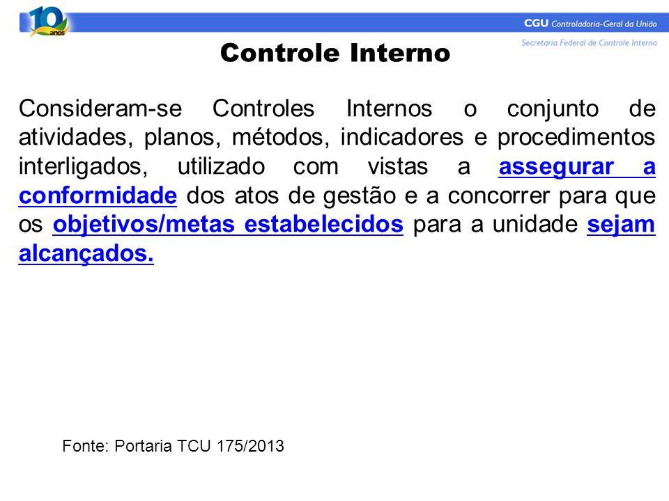 Controle Interno Consideram-se Controles Internos o conjunto de atividades, planos, métodos, indicadores e procedimentos interligados, utilizado com v
