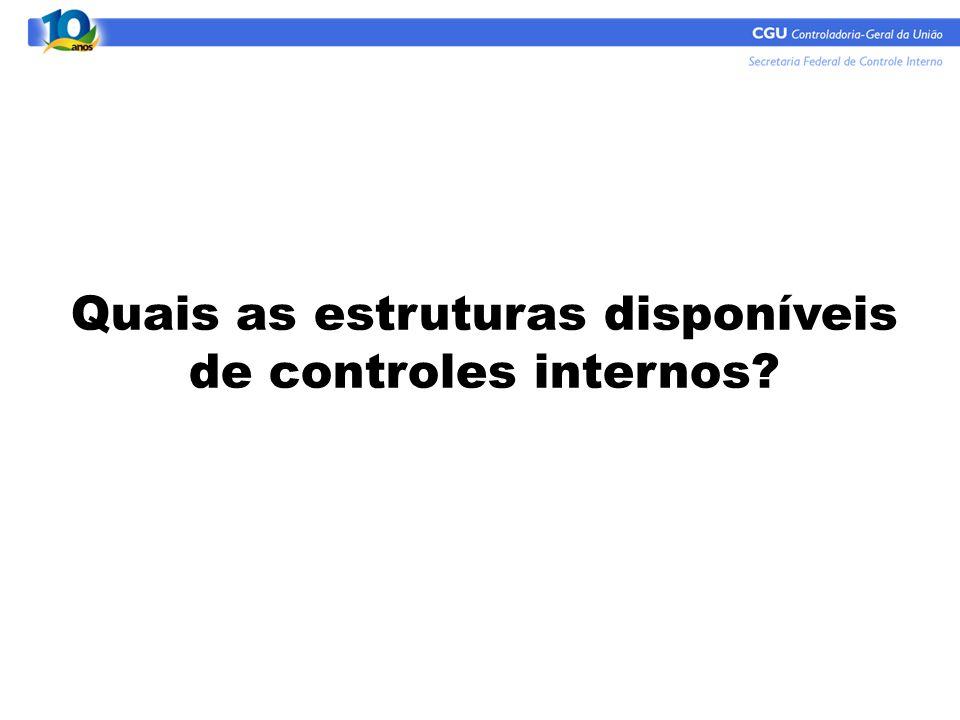 Quais as estruturas disponíveis de controles internos?