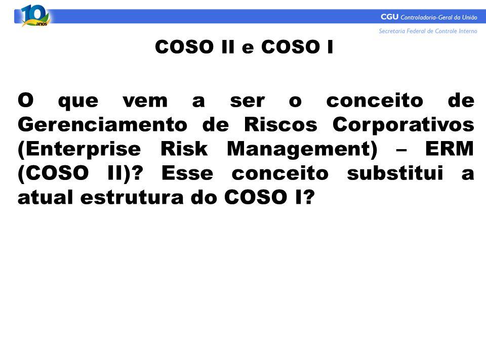 O que vem a ser o conceito de Gerenciamento de Riscos Corporativos (Enterprise Risk Management) – ERM (COSO II)? Esse conceito substitui a atual estru