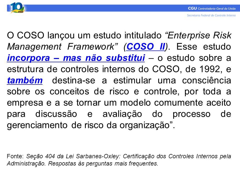 """O COSO lançou um estudo intitulado """"Enterprise Risk Management Framework"""" (COSO II). Esse estudo incorpora – mas não substitui – o estudo sobre a estr"""