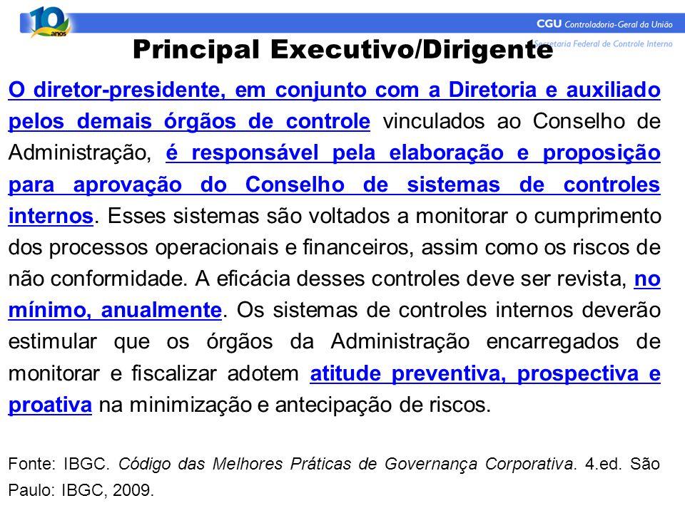 O diretor-presidente, em conjunto com a Diretoria e auxiliado pelos demais órgãos de controle vinculados ao Conselho de Administração, é responsável p