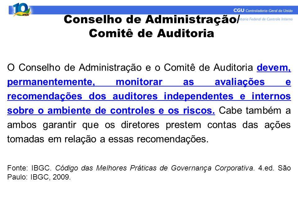 O Conselho de Administração e o Comitê de Auditoria devem, permanentemente, monitorar as avaliações e recomendações dos auditores independentes e inte
