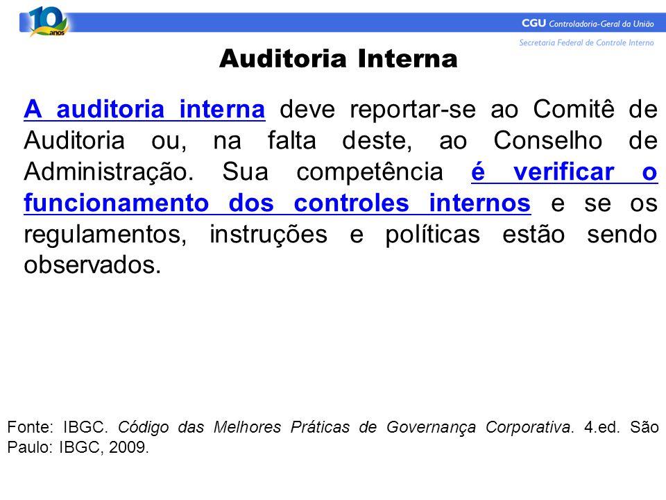 A auditoria interna deve reportar-se ao Comitê de Auditoria ou, na falta deste, ao Conselho de Administração. Sua competência é verificar o funcioname