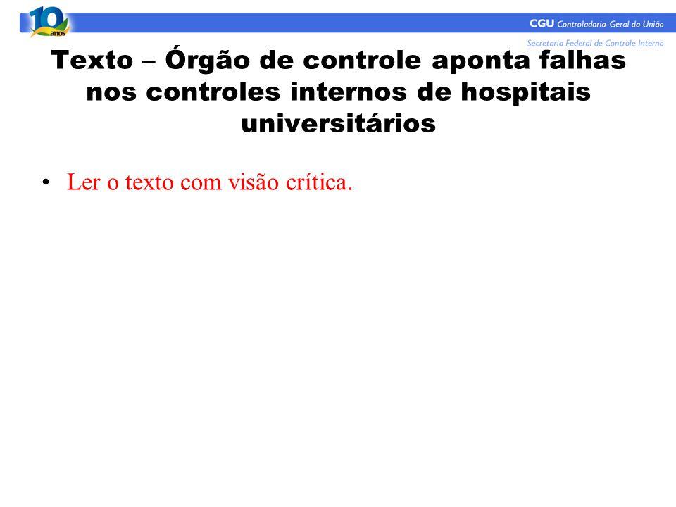 Texto – Órgão de controle aponta falhas nos controles internos de hospitais universitários Ler o texto com visão crítica.