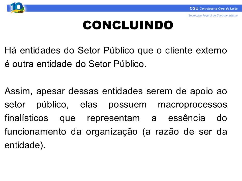 Há entidades do Setor Público que o cliente externo é outra entidade do Setor Público. Assim, apesar dessas entidades serem de apoio ao setor público,