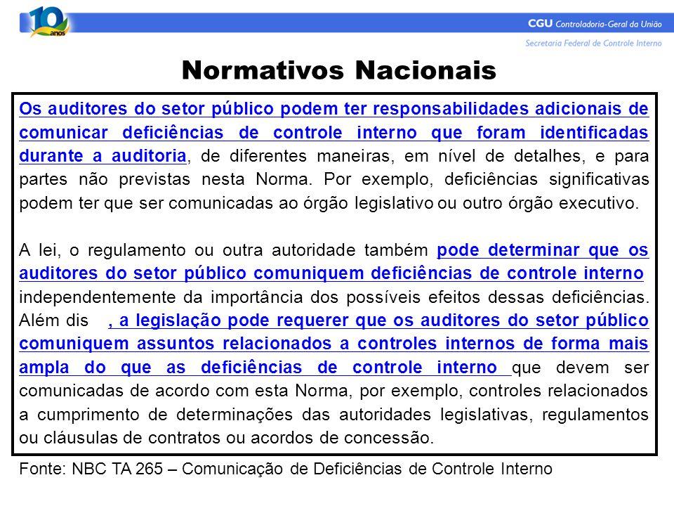 Normativos Nacionais Os auditores do setor público podem ter responsabilidades adicionais de comunicar deficiências de controle interno que foram iden