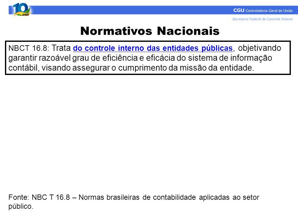 Normativos Nacionais NBCT 16.8: Trata do controle interno das entidades públicas, objetivando garantir razoável grau de eficiência e eficácia do siste