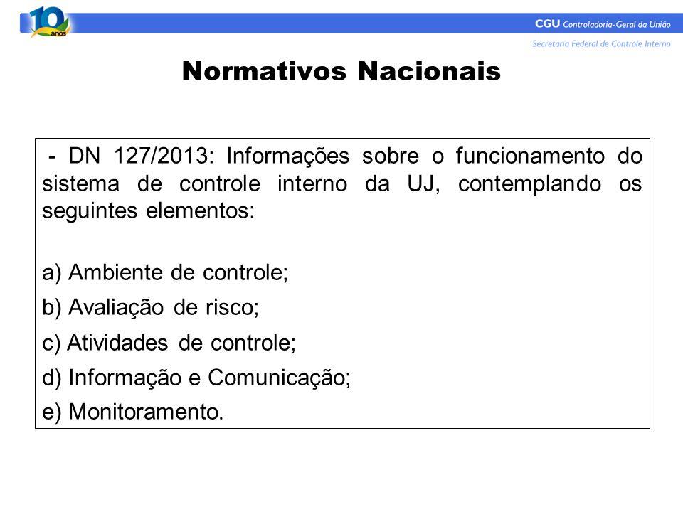 Normativos Nacionais - DN 127/2013: Informações sobre o funcionamento do sistema de controle interno da UJ, contemplando os seguintes elementos: a) Am
