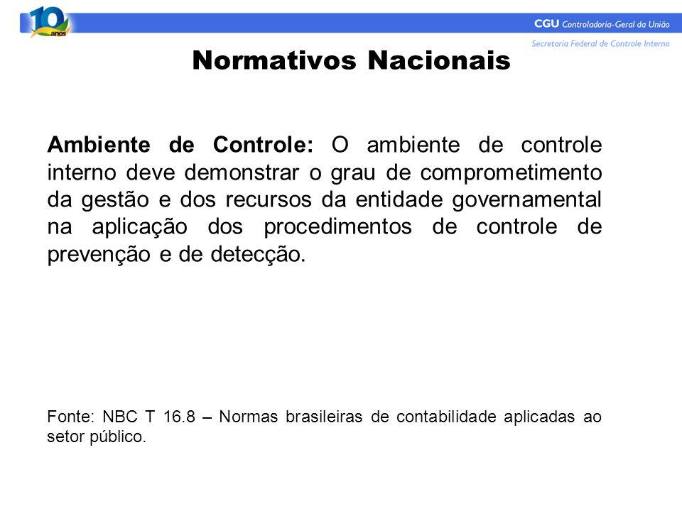 Normativos Nacionais Ambiente de Controle: O ambiente de controle interno deve demonstrar o grau de comprometimento da gestão e dos recursos da entida