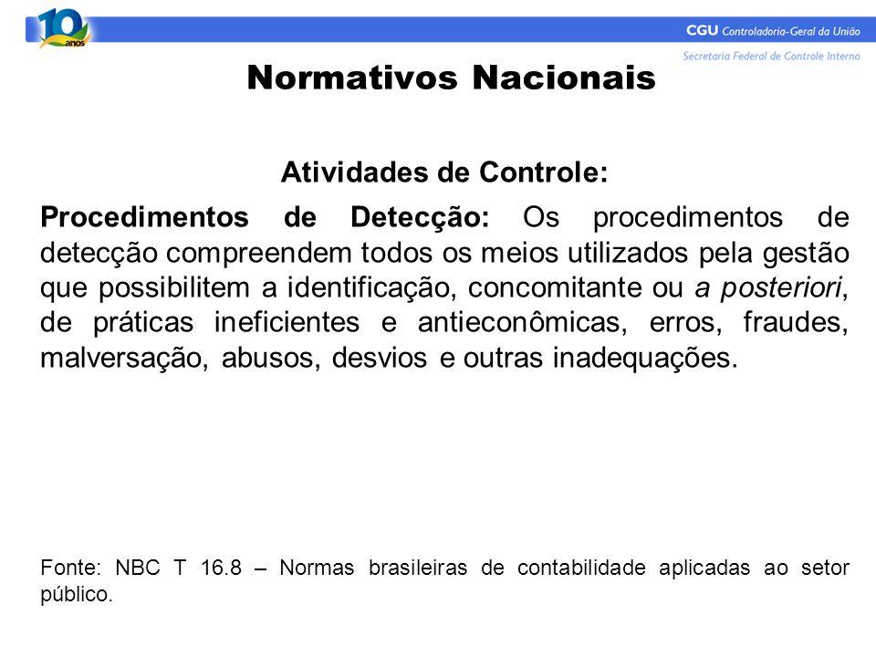 Normativos Nacionais Atividades de Controle: Procedimentos de Detecção: Os procedimentos de detecção compreendem todos os meios utilizados pela gestão