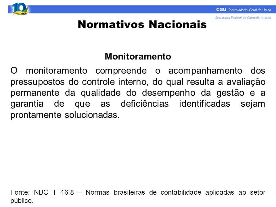 Normativos Nacionais Monitoramento O monitoramento compreende o acompanhamento dos pressupostos do controle interno, do qual resulta a avaliação perma