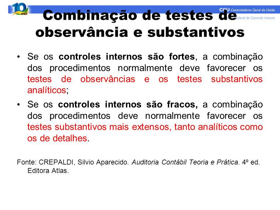 Combinação de testes de observância e substantivos Se os controles internos são fortes, a combinação dos procedimentos normalmente deve favorecer os t