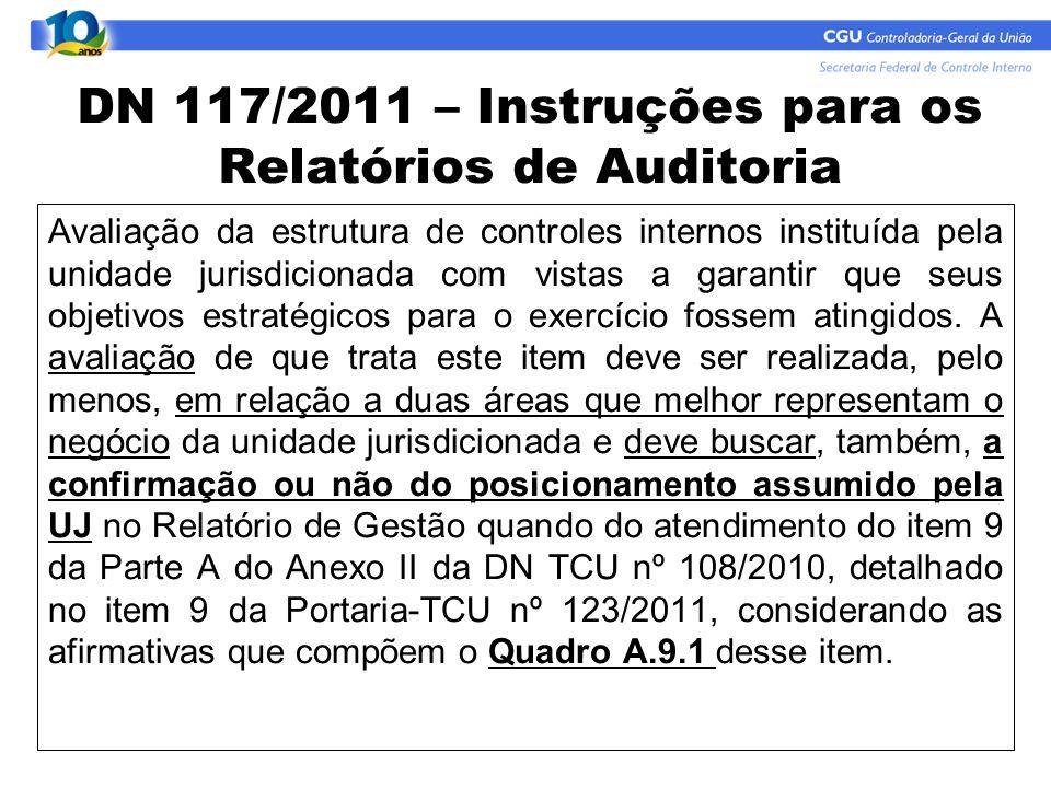 DN 117/2011 – Instruções para os Relatórios de Auditoria Avaliação da estrutura de controles internos instituída pela unidade jurisdicionada com vista