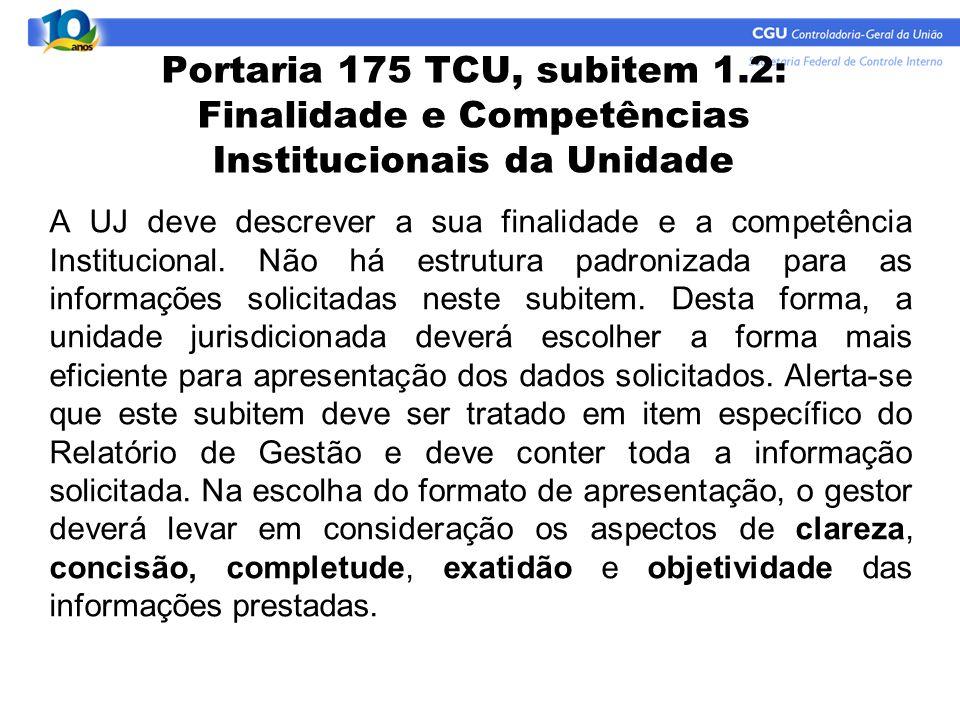 Portaria 175 TCU, subitem 1.2: Finalidade e Competências Institucionais da Unidade A UJ deve descrever a sua finalidade e a competência Institucional.