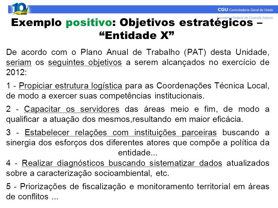 """Exemplo positivo: Objetivos estratégicos – """"Entidade X"""" De acordo com o Plano Anual de Trabalho (PAT) desta Unidade, seriam os seguintes objetivos a s"""