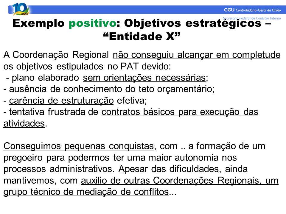 """Exemplo positivo: Objetivos estratégicos – """"Entidade X"""" A Coordenação Regional não conseguiu alcançar em completude os objetivos estipulados no PAT de"""