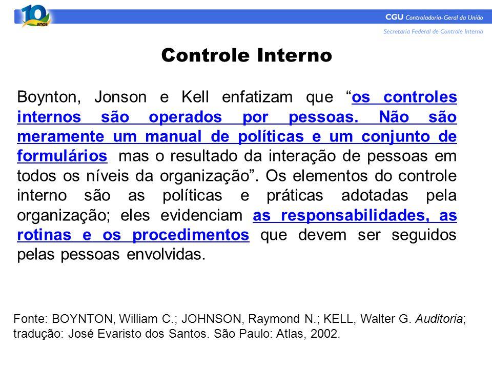 """Boynton, Jonson e Kell enfatizam que """"os controles internos são operados por pessoas. Não são meramente um manual de políticas e um conjunto de formul"""