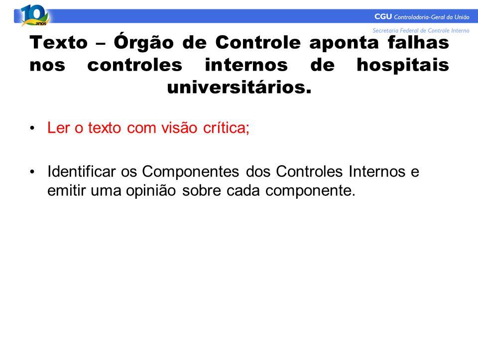 Texto – Órgão de Controle aponta falhas nos controles internos de hospitais universitários. Ler o texto com visão crítica; Identificar os Componentes