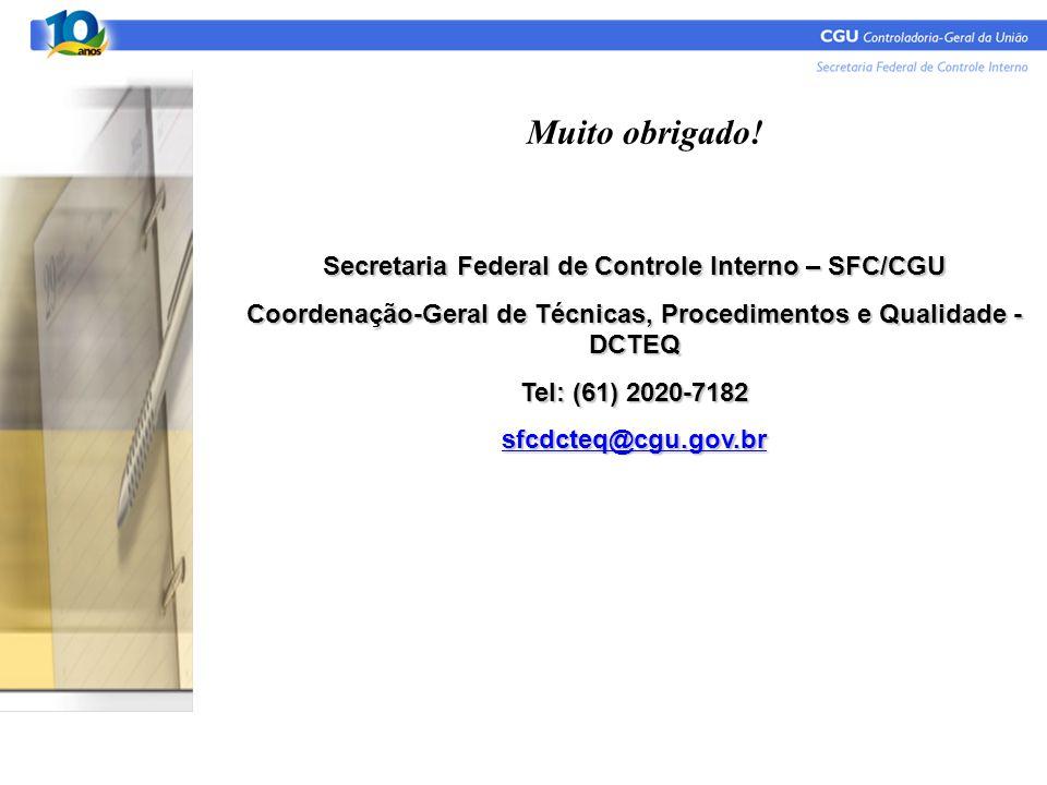 Muito obrigado! Secretaria Federal de Controle Interno – SFC/CGU Coordenação-Geral de Técnicas, Procedimentos e Qualidade - DCTEQ Tel: (61) 2020-7182