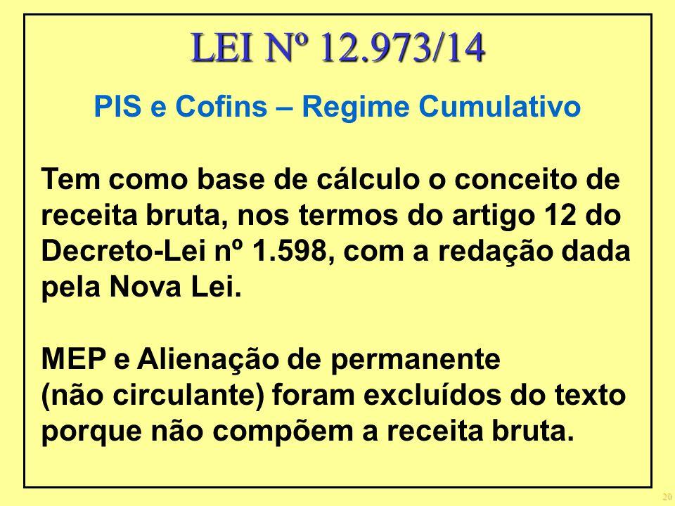 20 PIS e Cofins – Regime Cumulativo Tem como base de cálculo o conceito de receita bruta, nos termos do artigo 12 do Decreto-Lei nº 1.598, com a redaç