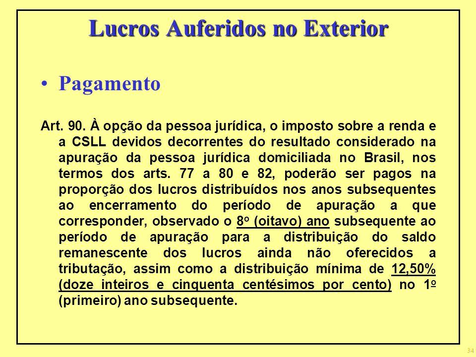 Lucros Auferidos no Exterior Pagamento Art. 90. À opção da pessoa jurídica, o imposto sobre a renda e a CSLL devidos decorrentes do resultado consider