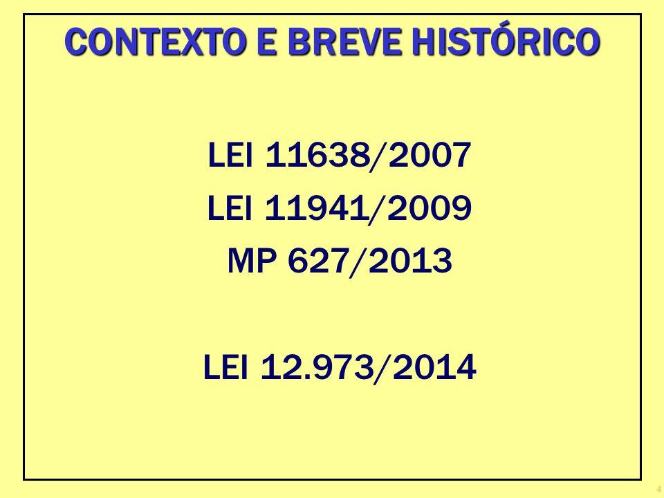 4 LEI 11638/2007 LEI 11941/2009 MP 627/2013 LEI 12.973/2014 CONTEXTO E BREVE HISTÓRICO