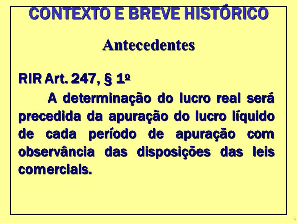 6 Antecedentes RIR Art. 247, § 1 o A determinação do lucro real será precedida da apuração do lucro líquido de cada período de apuração com observânci