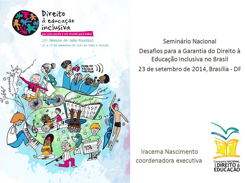 Seminário Nacional Desafios para a Garantia do Direito à Educação Inclusiva no Brasil 23 de setembro de 2014, Brasília - DF Iracema Nascimento coordenadora executiva