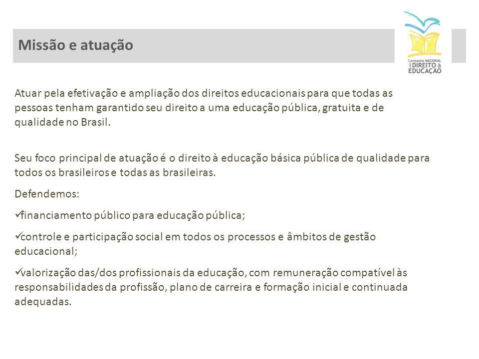Atuar pela efetivação e ampliação dos direitos educacionais para que todas as pessoas tenham garantido seu direito a uma educação pública, gratuita e de qualidade no Brasil.