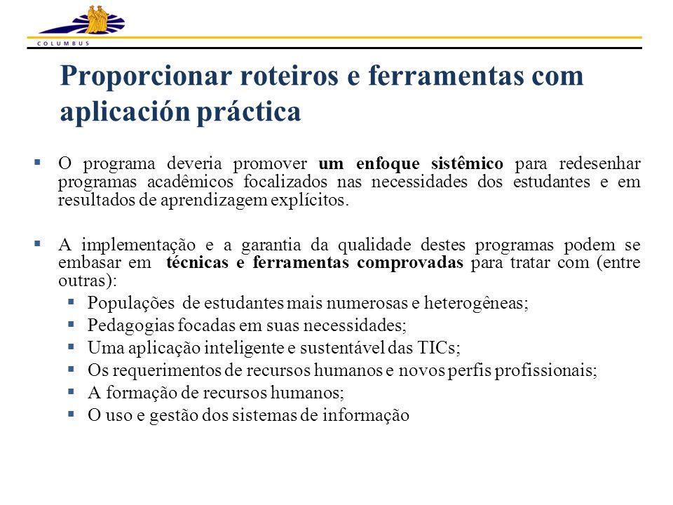 Proporcionar roteiros e ferramentas com aplicación práctica  O programa deveria promover um enfoque sistêmico para redesenhar programas acadêmicos fo