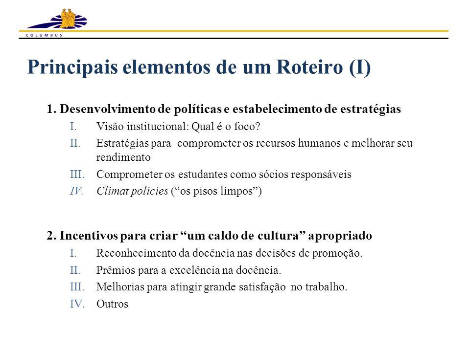 Principais elementos de um Roteiro (I) 1. Desenvolvimento de políticas e estabelecimento de estratégias I.Visão institucional: Qual é o foco? II.Estra