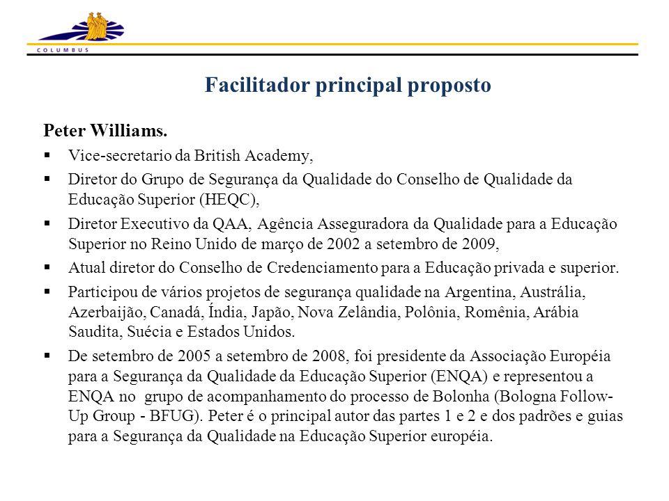 Facilitador principal proposto Peter Williams.  Vice-secretario da British Academy,  Diretor do Grupo de Segurança da Qualidade do Conselho de Quali