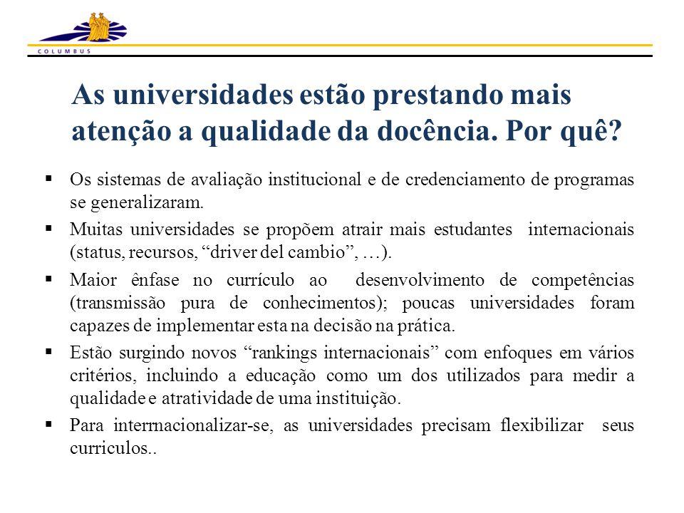 As universidades estão prestando mais atenção a qualidade da docência.