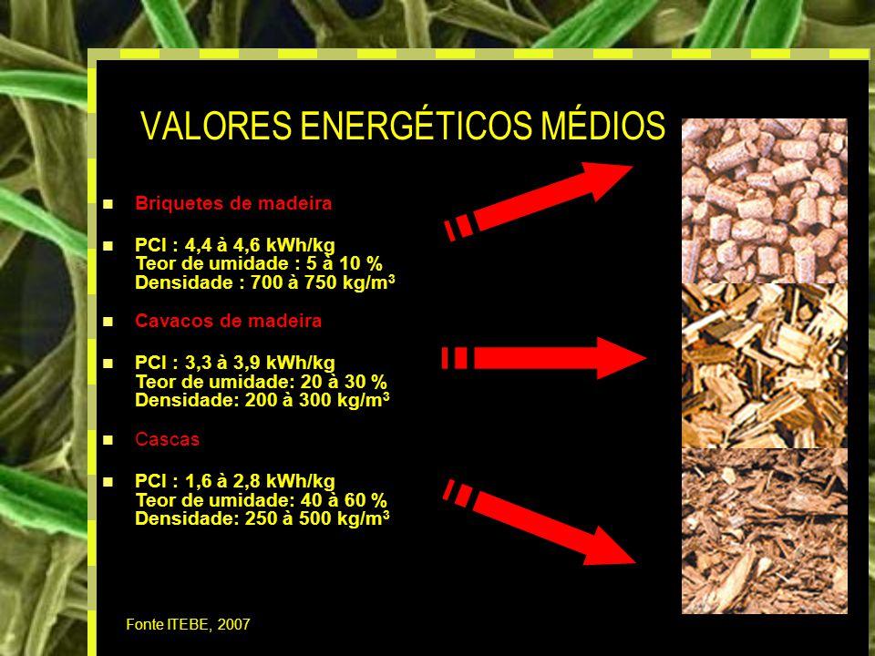 19 VALORES ENERGÉTICOS MÉDIOS Fonte ITEBE, 2007 Briquetes de madeira PCI : 4,4 à 4,6 kWh/kg Teor de umidade : 5 à 10 % Densidade : 700 à 750 kg/m 3 Cavacos de madeira PCI : 3,3 à 3,9 kWh/kg Teor de umidade: 20 à 30 % Densidade: 200 à 300 kg/m 3 Cascas PCI : 1,6 à 2,8 kWh/kg Teor de umidade: 40 à 60 % Densidade: 250 à 500 kg/m 3