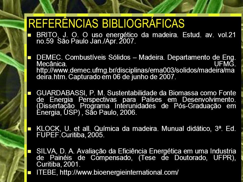 21 REFERÊNCIAS BIBLIOGRÁFICAS BRITO, J.O. O uso energético da madeira.
