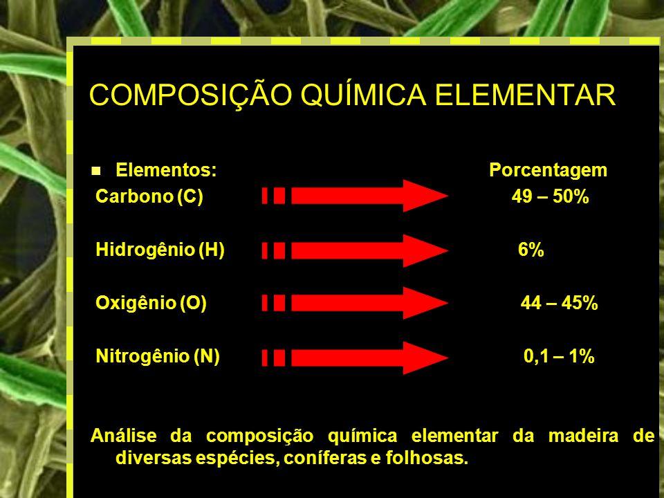 4 COMPOSIÇÃO QUÍMICA ELEMENTAR Elementos:Porcentagem Carbono (C) 49 – 50% Hidrogênio (H) 6% Oxigênio (O) 44 – 45% Nitrogênio (N) 0,1 – 1% Análise da composição química elementar da madeira de diversas espécies, coníferas e folhosas.