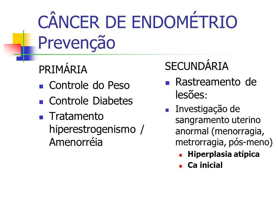 CÂNCER DE ENDOMÉTRIO Prevenção PRIMÁRIA Controle do Peso Controle Diabetes Tratamento hiperestrogenismo / Amenorréia SECUNDÁRIA Rastreamento de lesões : Investigação de sangramento uterino anormal (menorragia, metrorragia, pós-meno) Hiperplasia atípica Ca inicial