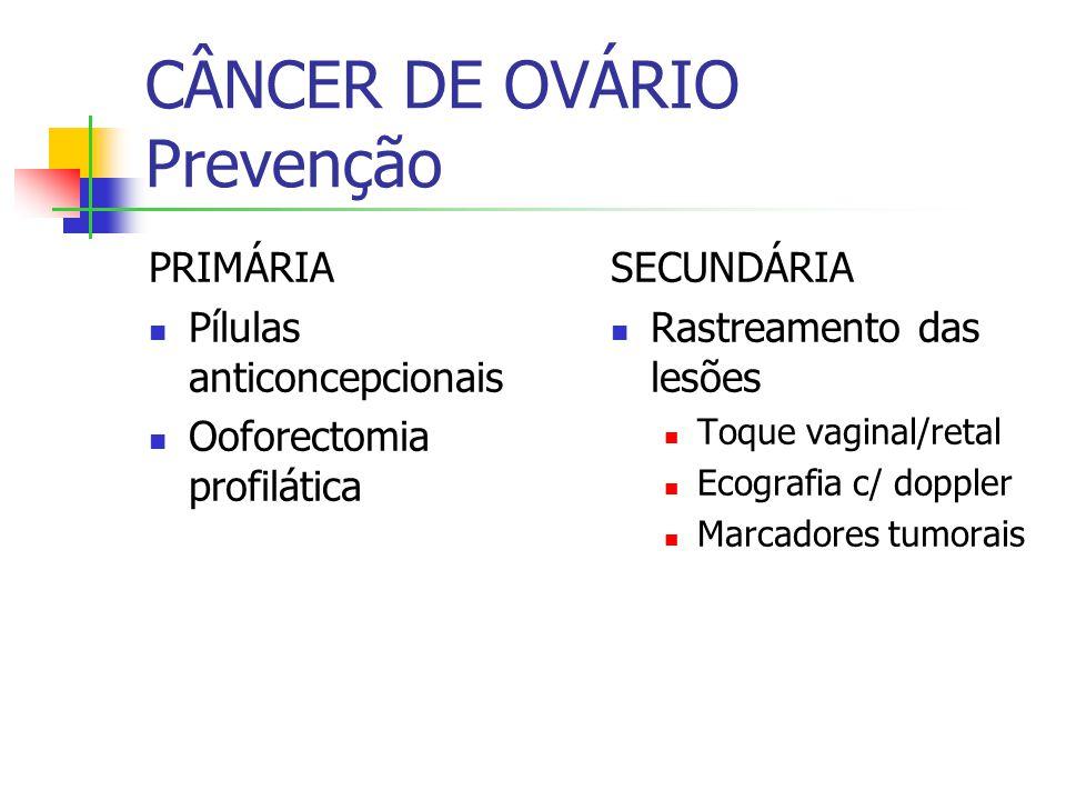 CÂNCER DE OVÁRIO Prevenção PRIMÁRIA Pílulas anticoncepcionais Ooforectomia profilática SECUNDÁRIA Rastreamento das lesões Toque vaginal/retal Ecografia c/ doppler Marcadores tumorais