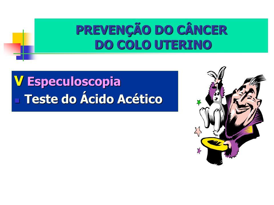 PREVENÇÃO DO CÂNCER DO COLO UTERINO VEspeculoscopia Teste Teste do Ácido Acético