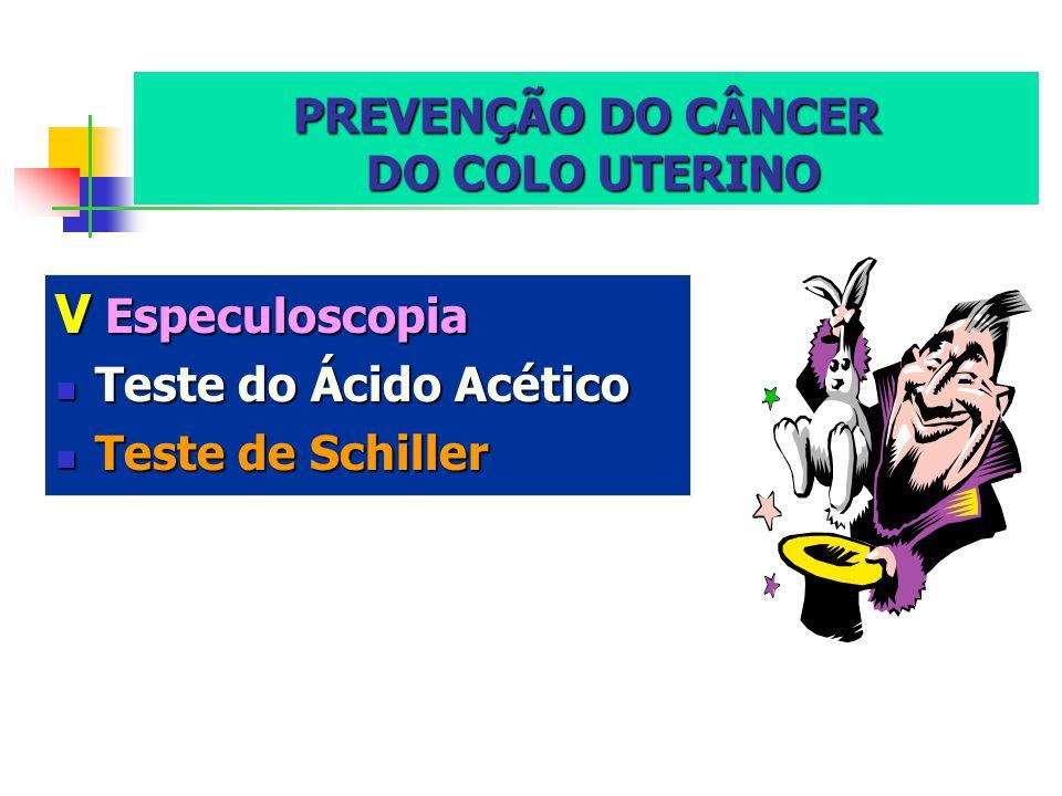 PREVENÇÃO DO CÂNCER DO COLO UTERINO VEspeculoscopia Teste Teste do Ácido Acético de Schiller