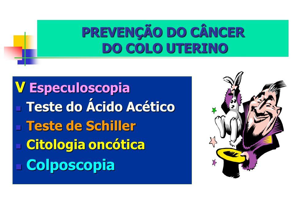 PREVENÇÃO DO CÂNCER DO COLO UTERINO VEspeculoscopia Teste Teste do Ácido Acético de Schiller Citologia Citologia oncótica Colposcopia Colposcopia
