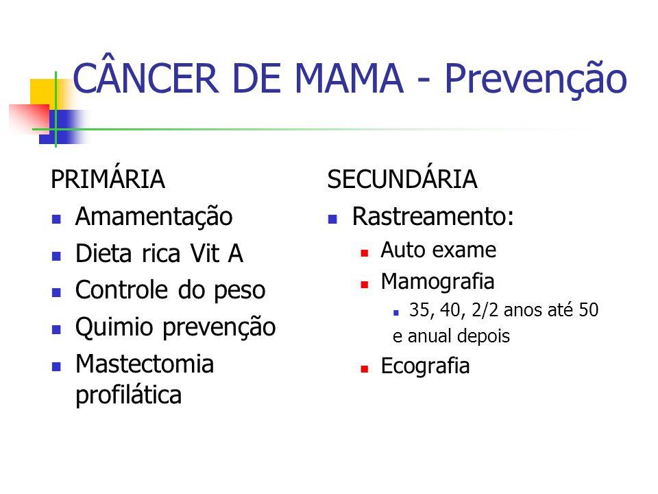 CÂNCER DE MAMA - Prevenção PRIMÁRIA Amamentação Dieta rica Vit A Controle do peso Quimio prevenção Mastectomia profilática SECUNDÁRIA Rastreamento: Au