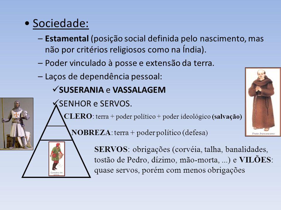 3 – O FEUDALISMO Economia: agrícola, auto-suficiente (subsistência), sem comércio e moeda. Unidade econômica básica: FEUDO (benefício). – MANSO SENHOR