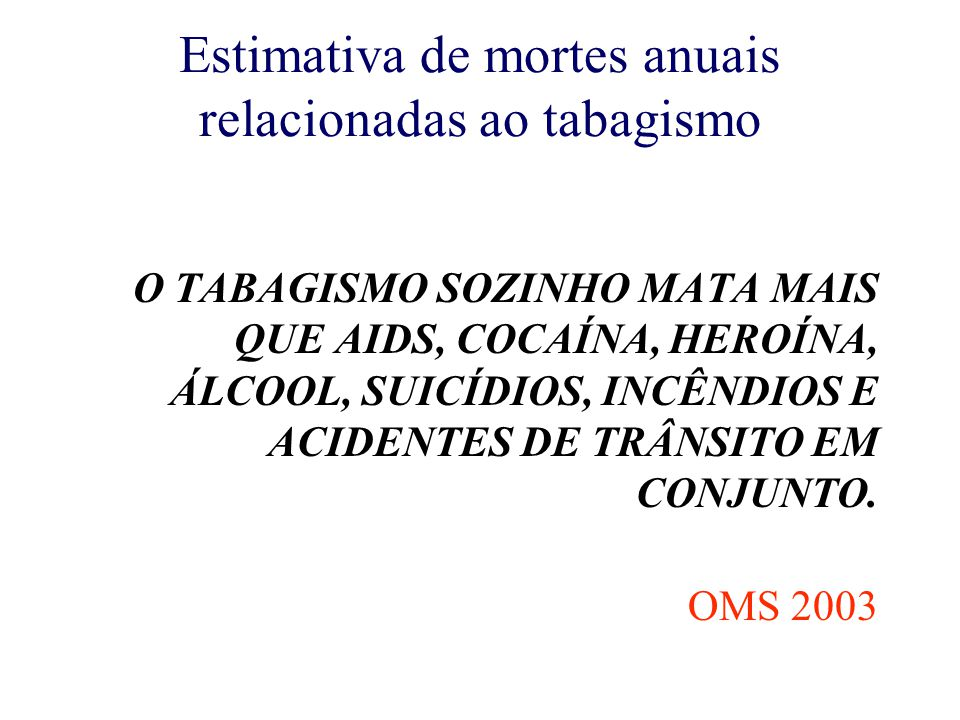 Estimativa de mortes anuais relacionadas ao tabagismo O TABAGISMO SOZINHO MATA MAIS QUE AIDS, COCAÍNA, HEROÍNA, ÁLCOOL, SUICÍDIOS, INCÊNDIOS E ACIDENTES DE TRÂNSITO EM CONJUNTO.