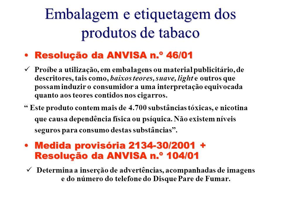 Embalagem e etiquetagem dos produtos de tabaco Resolução da ANVISA n.º 46/01Resolução da ANVISA n.º 46/01 Proíbe a utilização, em embalagens ou material publicitário, de descritores, tais como, baixos teores, suave, light e outros que possam induzir o consumidor a uma interpretação equivocada quanto aos teores contidos nos cigarros.