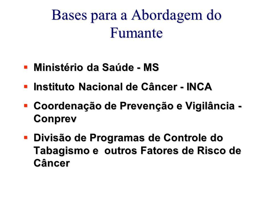 Bases para a Abordagem do Fumante  Ministério da Saúde - MS  Instituto Nacional de Câncer - INCA  Coordenação de Prevenção e Vigilância - Conprev  Divisão de Programas de Controle do Tabagismo e outros Fatores de Risco de Câncer