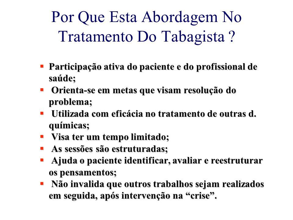 Por Que Esta Abordagem No Tratamento Do Tabagista ?  Participação ativa do paciente e do profissional de saúde;  Orienta-se em metas que visam resol